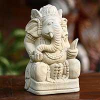 Sandstone 'Magnificent Ganesha II' Statuette (Indonesia)