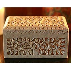 Soapstone 'Honeysuckle' Jewelry Box (India)