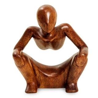 Wood 'Abstract Sitting' Sculpture, Handmade in Indonesia