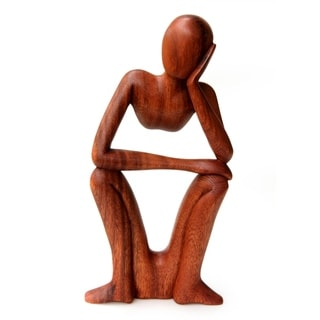 Thinking of You' Wood Sculpture, Handmade in Indonesia