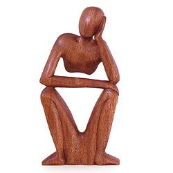 'Thinking of You' Wood Sculpture (Indonesia)