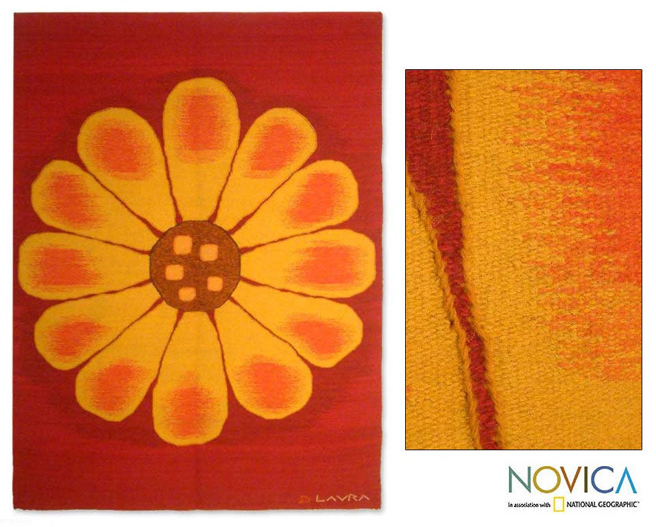 Wool 'Andean Sunflower' Tapestry (Peru)