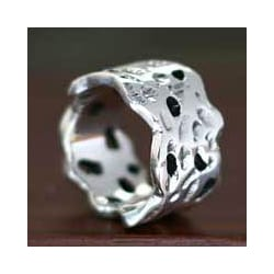 Sterling Silver 'Moon Craters' Men's Ring (Indonesia)