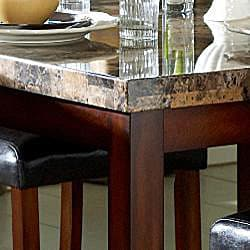 Hutton Faux Marble 5-piece Cherry Counter Height Dining Set
