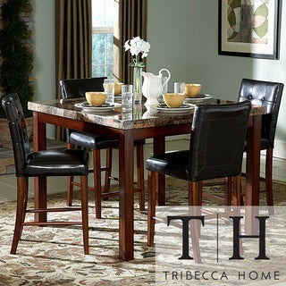 Tribecca Home Hutton Faux Marble 5-piece Cherry Counter Height Dining Set
