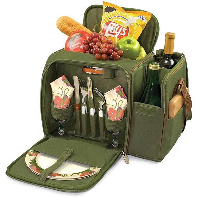 Picnic Time Malibu Pine Green Wine and Cheese Picnic Basket