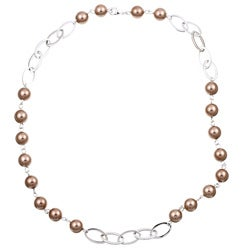 Rhodium-plated Bronze Shell Faux Pearl Necklace