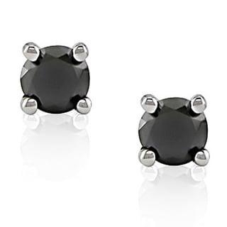Haylee Jewels 14k White Gold 1/4ct TDW Black Diamond Stud Earrings