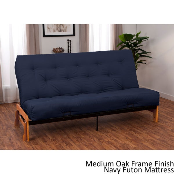 Boston queen armless futon frame premier mattress set for Overstock furniture and mattress houston