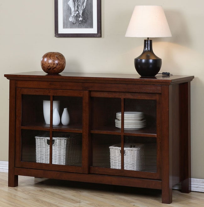 walnut cherry sliding door buffet overstock shopping. Black Bedroom Furniture Sets. Home Design Ideas