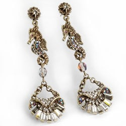 Sweet Romance Art Deco Seahorse and Shell Earrings