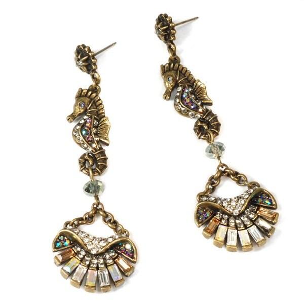 Sweet Romance Art Deco Seahorse and Shell Earrings