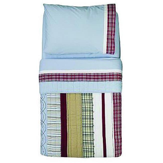 Bacati Stripes/ Plaids 4-piece Toddler Bedding Set
