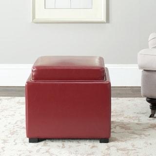 Safavieh Bobbi Tray Red Bicast Leather Storage Ottoman