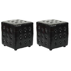 Safavieh Kristof Black Ottomans (Set of 2)