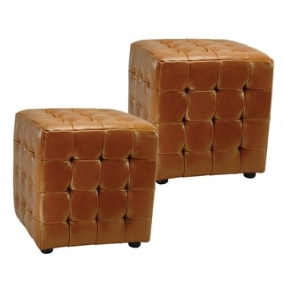 Safavieh Kristof Bicast Leather Saddle Ottomans (Set of 2)