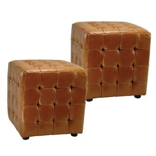 Safavieh Kristof Storage Bicast Leather Saddle Ottomans (Set of 2)