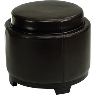 Safavieh Round Storage Tray Brown Ottoman