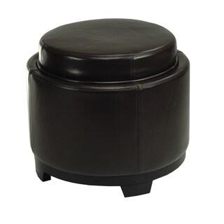 Safavieh Round Storage Tray Brown Ottoman