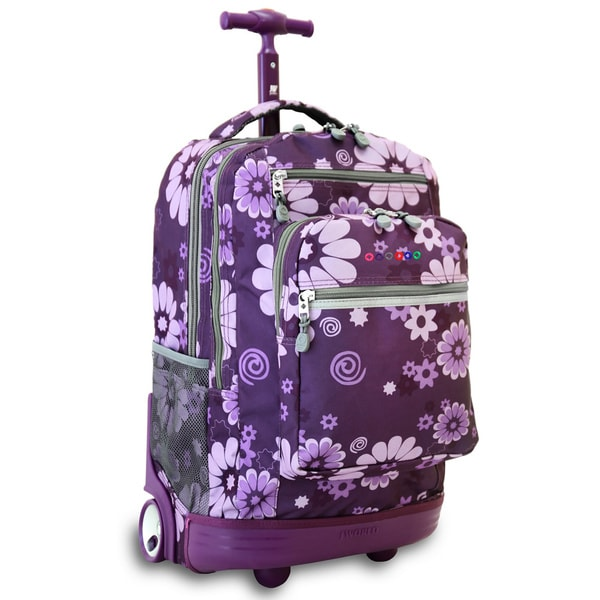 J World Sundace Purple Flower Rolling 15-inch Laptop Backpack