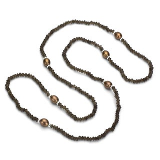 DaVonna Silver Smokey Quartz and Brown FW Pearl 18-inch Necklace (9-10 mm)