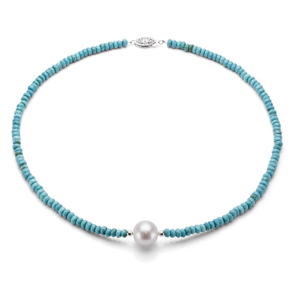 DaVonna Silver Turquoise and White FW Pearl Necklace (12-13 mm)