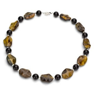 DaVonna Sterling Silver Black Onyx and Tiger's Eye Necklace with Gift Box