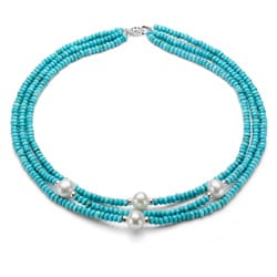 DaVonna Silver 3-row Turquoise and White FW Pearl Necklace (10-11 mm)