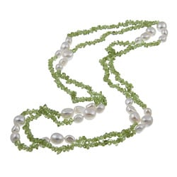 DaVonna White FW Pearl and Green Peridot 48-inch Endless Necklace (8-9 mm)