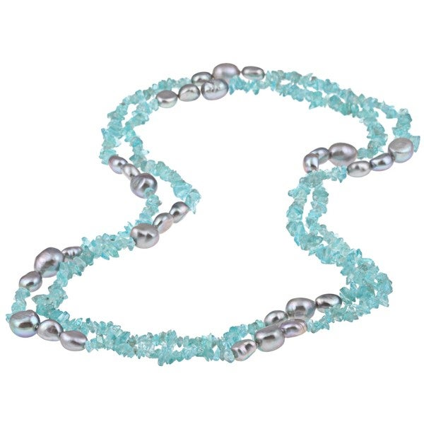 DaVonna Grey FW Pearl and Blue Apetite 48-inch Endless Necklace (8-9 mm)