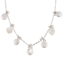DaVonna Sterling Silver Freshwater Coin Pearl Tin Cup Necklace (10-11 mm)