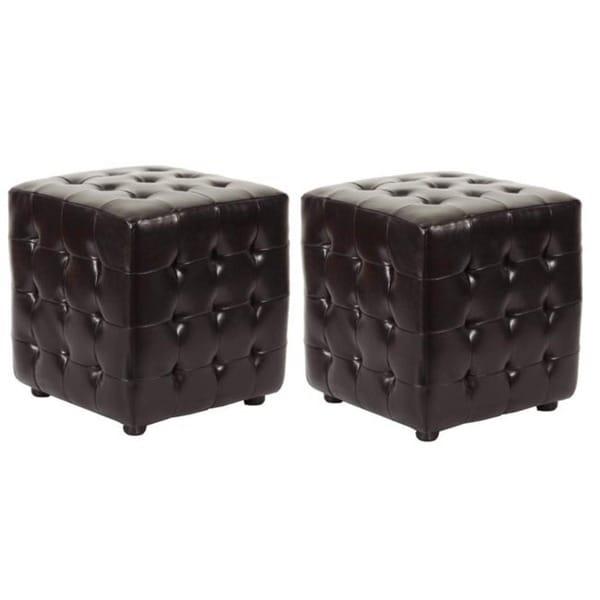 Safavieh Kristof Storage Brown Bicast Leather Ottomans (Set of 2)