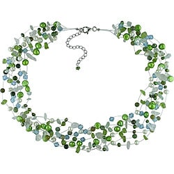Miadora New York Pearls FW Pearl Crystal and Multi-gemstone Necklace