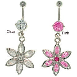 CGC Stainless Steel Crystal Flower Dangle 14-gauge Navel Ring