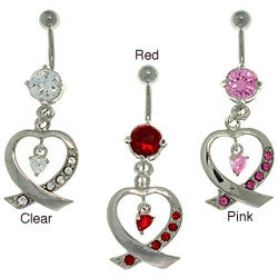 CGC Stainless Steel Ribbon Heart Dangling Barbell Navel Ring