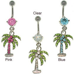 CGC Surgical Steel Crystal Palm Tree 14-gauge Belly Ring