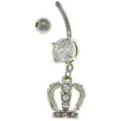 Carolina Glamour Collection Surgical Steel Crystal Crown 14-gauge Belly Ring