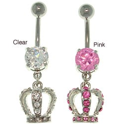 CGC Surgical Steel Crystal Crown 14-gauge Belly Ring