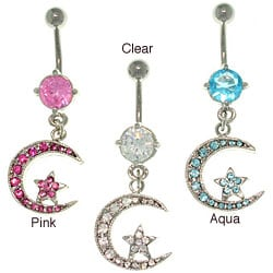 CGC Surgical Steel Crystal Moon and Star 14-gauge Belly Ring
