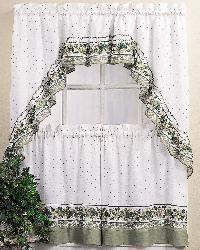 Cottage Ivy 24 inch Curtain Tier/ Swag Set