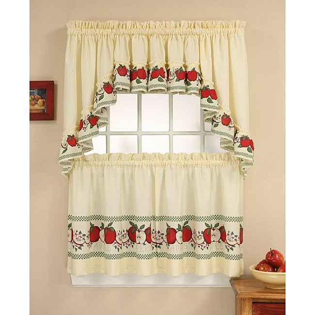 Red delicious apple 3 piece curtain tier swag set for Apple kitchen decoration set