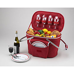 Picnic at Ascot Collapsible Insulate Picnic Basket with Aluminum Frame and Handles