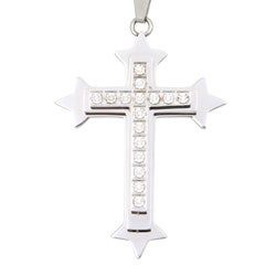 Stainless Steel Men's Diamond Layered Cross Necklace (I-J, I3)