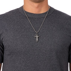 Stainless Steel Men's 1/10ct TDW Diamond Cross Necklace (I-J, I3)