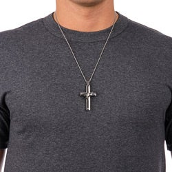Stainless Steel Men's Diamond Cross Necklace