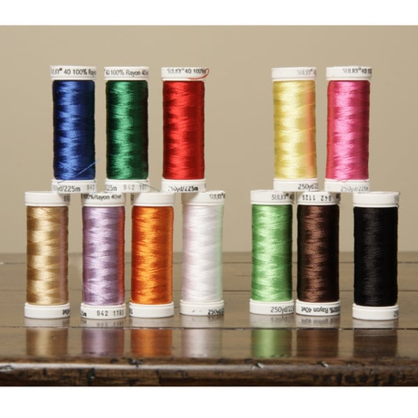 Sulky 40-weight Rayon Embroidery Thread Colors (Set of 12)