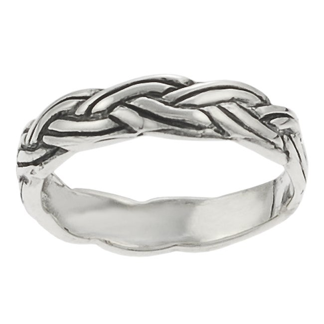 Journee Collection Sterling Silver Braided Baby Ring