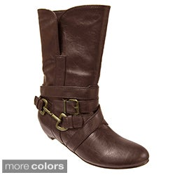 Bamboo by Journee Collection Women's Buckle Accent Mid-calf Boots