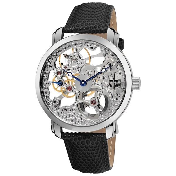 Akribos XXIV Men's 'Davinci' Water-resistant Mechanical Genuine Leather Strap Watch