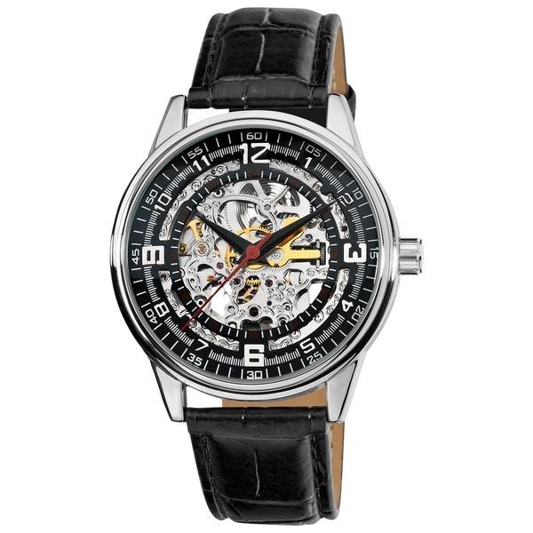 Akribos XXIV Men's 'Saturnos' Skeleton Automatic Silver-Tone Watch